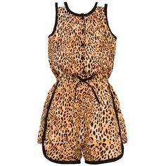 A bold wild animal print and cute contrast piping make this Real Love romper so enchanting. The sleeveless jumper features leopard pattern in lovely hues of tan and brown, black tie at the waist and matching trim detail.