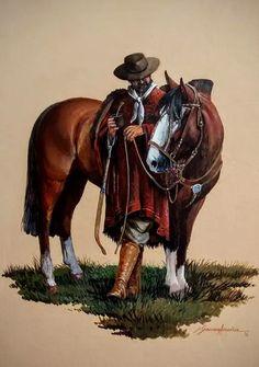 Los personajes: Indalacio es un gaucho que fue a la cárcel cuando 25 años de edad. Ahora  40 años de edad, después de pasar 15 años y dos meses en la cárcel, el vuelve a casa. Indalacio es preocupado, triste, y considerado hacia su familia. Mexican Artwork, Mexican Paintings, Western Wild, Western Art, Cowboy Art, Cowboy And Cowgirl, States Of Brazil, Horse Adventure, Young Guns
