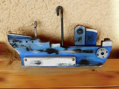 blue-3 little ship Wood Block Crafts, Wooden Crafts, Wood Projects, Ship Craft, Boat Art, Wood Boats, Driftwood Crafts, Nautical Art, Wood Creations