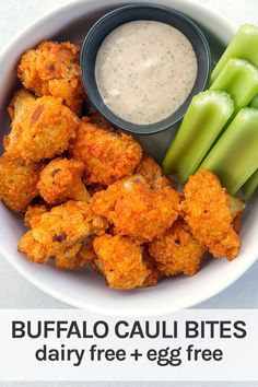 Delicious dairy free baked buffalo cauliflower wings. These cauliflower bites are the ultimate snack or appetizer. Easy air fryer option! Dairy Free Appetizers, Make Ahead Appetizers, Appetizers For Party, Dairy Free Eggs, Dairy Free Recipes, Vegan Recipes, Baked Buffalo Cauliflower, Cauliflower Wings, Whole 30 Snacks