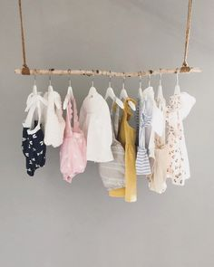Baby I am pleased to present this article from my shop at clothes rail made from a birch bran Diy Kleidung Upcycling, Childrens Hangers, Kids Hangers, Birch Branches, Selling Handmade Items, Clothes Rail, Hanger Rack, Diy Garden Decor, Diy Shirt