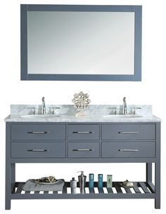 "Manhattan 60"" Grey Transitional Style Bathroom Vanity and Mirror contemporary-bathroom-vanities-and-sink-consoles"
