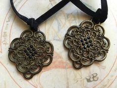 Ornamental pendants celtic gothic medieval style large ornaments for sewing fantasy goth folk jewellery on faux  leather ribbons by SuitcaseInBerlin on Etsy