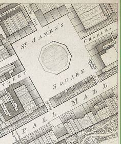 A map of St James's Square 1799, where the Marquis of Allwyn's house stood.