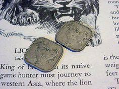 Vintage Burma Myanmar Square Coins Mythological lion-dragon Creature Supply, Jewelry making etc 1rn34 via Etsy