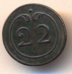 Cincin19 Belle Bouton Infanterie de Ligne regiment nº22,petit modele