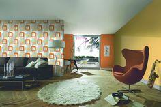 Non-woven wallpaper graphic creamgrey green P+S International Novara 2 13460-40