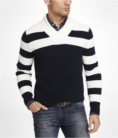Striped Color Block Shawl Collar Sweater on shopstyle.com