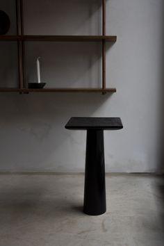 vosgesparis: Pedestal tables by Vilde Hagelund Sustainable Furniture, Modular Furniture, Furniture Design, Gray Interior, Interior Design, Pedestal Side Table, Geometric Solids, Dark Hardwood, Solid Oak