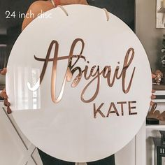 Round Acrylic Name Sign - Baby Shower / Nursery Name Sign Backdrop Wall Decor Birthday Baby Name Sign - VividEditions Custom Business Signs, Business Logo, Salon Business, Baby Name Signs, Baby Names, Name Wall Decor, Lash Room, 3d Laser, Nursery Name