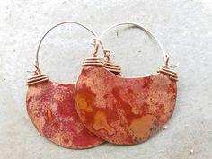 Pendientes luna creciente de cobre. Pendientes rojos de cobre. Pendientes grandes de cobre. Pendientes media lunas. Pendientes geométricos by Origenjewelry on Etsy
