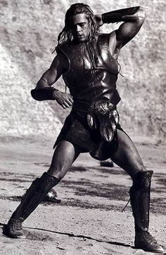 "On location - Brad Pitt as Achilles in ""Troy"".....not the facelift kinda guy."