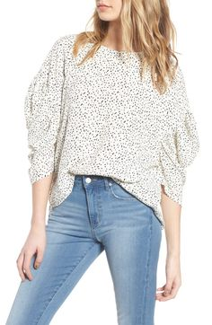 Leith Ruched Sleeve Top available at Best Brand, Nordstrom, Ruffle Blouse, Pullover, My Style, Club Style, Knitting, Tees, Sleeves