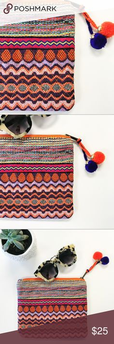 "Embroidered Makeup Pouch This is how I stay organized: tons of pouches in my purse. If you feel me, this is a super fun option to add a little boho and FUN to your everyday routine. Multicolored, quilted and lined, this 8"" x 6.5"" pouch is 💯 awesome. Boutique Bags Travel Bags"