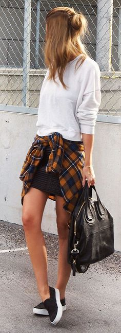 Fall Tartan Waist Tied Up Shirt Outfit Idea by Annette Haga