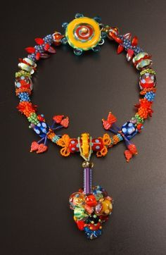 """Ellie Mac Beads by Eleanore Macnish I make big, colorful, whimsical, happy beads. I have tried to make """"serious"""" beads and I ju. Brass Jewelry, Jewelry Art, Beaded Jewelry, Handmade Jewelry, Beaded Necklace, Jewelry Design, Necklaces, Jewellery, Ring Necklace"""