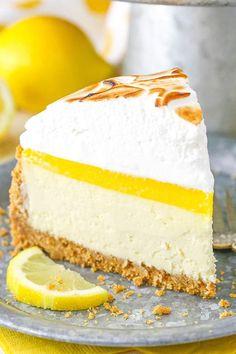 Pudding Desserts, Dessert Recipes, Pie Recipes, Cooking Recipes, Lemon Meringue Pie, Lemon Curd, Homemade Cheesecake, Lemon Cheesecake Recipes, Raspberry Cheesecake
