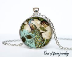 Peacock Necklace Victorian Style Peacock by outofspacejewelry