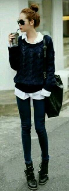 Ratty sweater + oxford shirt
