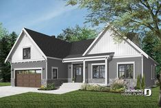 NEW FARMHOUSE PLAN    One-storey ranch house plan with 2-car garage, large kitchen with island and open to living room and backyard # 3246-V2    https://www.drummondhouseplans.com/house-plan-detail/info/jennifer-country-1003284.html