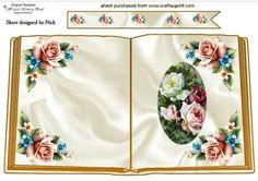 vintage summer roses open book A4 on Craftsuprint - Add To Basket!