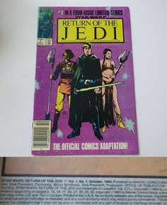 RARE Vintage Vintage STAR WARS Return of The JEDI COMIC BOOK No 1 Oct 1983, Star Wars Movie Memorabilia, Comic Collectible 1980s Ephemera, Star Wars Fan Collector Gift, just in time for Fathers Day... In Great Condition! Features the 1st in a Four Issue Limited Edition Series, wonderful full colored pages, none torn or ripped. Includes great illustrations of Jabba the Hutt & Cool Colorful Ads for upcoming Intellivision video games, Burger Time 1982 & Advanced Dungeons & Dragons (...
