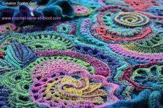 russian rhapsody 2 freeform crochet by sophie gelfi Art Au Crochet, Crochet Shawl Free, Crochet Motifs, Crochet Blocks, Freeform Crochet, Irish Crochet, Crochet Crafts, Crochet Stitches, Crochet Projects