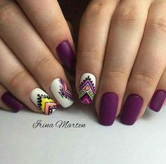 Stylish Nails, Trendy Nails, Short Nail Designs, Nail Art Designs, Tribal Designs, Tribal Nails, Matte Nail Polish, Nagel Gel, Perfect Nails