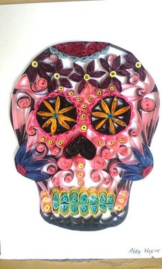 Paper Quilled Sugar Skull Original Colorful by MissAbbyRose, $166.00 #paperquill #sugarskull
