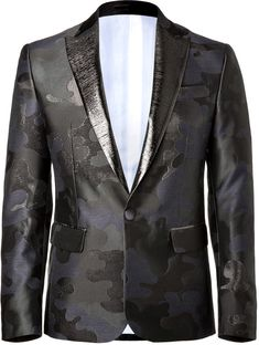 $1,695, Navy Camouflage Blazer: DSquared 2 Jacquard Blazer With Lam Detailing. Sold by STYLEBOP.com. Click for more info: https://lookastic.com/men/shop_items/63164/redirect