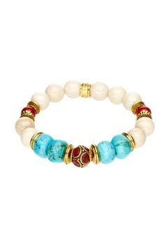 HauteLook | Go For Gold: Summer Jewelry: Carnelian & Turquoise Statement Stretch Bracelet