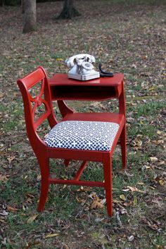 Vintage Gossip Chair / Telephone Table by stonebentley on Etsy- No one uses… Recycled Furniture, Furniture Projects, Painted Furniture, Diy Furniture, Chair Makeover, Furniture Makeover, Vintage Telephone Table, Vintage Wood, Etsy Vintage