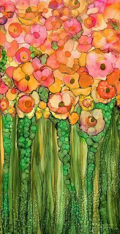 Alcohol Ink Mixed Media - Poppy Bloomies 1 - Orange by Carol Cavalaris Alcohol Ink Crafts, Alcohol Ink Painting, Alcohol Ink Art, Motif Floral, Arte Floral, Watercolor Flowers, Watercolor Paintings, Watercolours, Orange Art