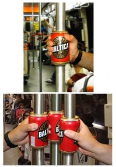 This is a great way to advertises a product. It's also a great promotional piece. People who go on this train would be forced to look at the beer cans. It is a multi function piece. It advertises while being a gripper.