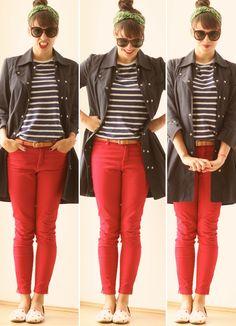 navy de calça vermelha e trench coat, mais alguns elementos-surpresa