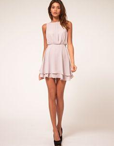 sleeveless mini dress with double skirt