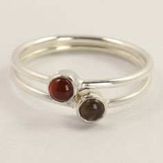 2 Pics 925 Sterling Silver Real CARNELIAN & SMOKY QUARTZ Gems Ring Size US 6.25 #Unbranded