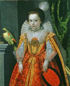Frans Pourbus the Younger (1569-1622) — An Unknown Princess with a Parrot, ok.1620 : The Weiss Gallery. London. UK   (1638×2001)