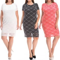 """Plus size lace dress with lining NWT. White / Black / Coral. Chic and feminine lace dress with lining, perfect for day to night. Features a back zipper for ease of wear.   1X: 14-16W, 34-37"""" waist, 43-47"""" hip, 41-44"""" Bust.  2X: 18-20W, 38-41"""" waist, 47-50"""" hip, 45-48"""" Bust.  3X: 22-24W, 42-45"""" waist, 50-54"""" hip, 49-52"""" Bust.   90% Polyester, 10% Spandex Dresses"""