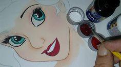 Pintando a boquinha da princesa - com Laurenice Amorim Fabric Painting, Cute Drawings, Folk Art, Diy And Crafts, Abstract, Sewing, Artwork, Youtube, Tutorials