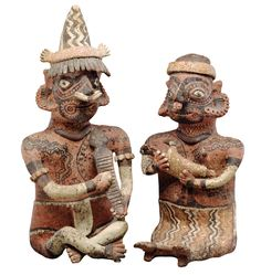 heavily tattooed hollow ceramic figurines...notable that tattooing occurs prominently around mouth, which may refer, as it does in Classic Maya society, to the breath of life...100 B.C.-A.D. 400, Mexico