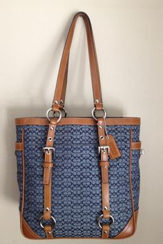 $119 - Coach Denim Blue Signature Canvas Brown Whiskey Leather Gallery Book Bag Tote