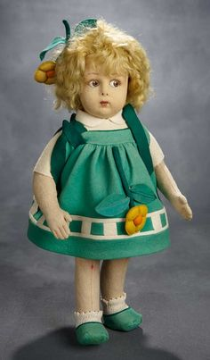 EXPRESSIONS: 218 Italian Felt Character Doll, Early Series 110, by Lenci in Original Costume