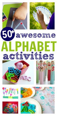 50 awesome alphabet activities. Fine motor, gross motor, outdoor, creative, matching, etc.