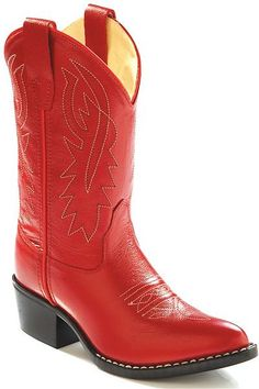 Old West Kids Cowboy Boots in Red Leather
