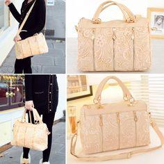 Korean Women PU Leather Messenger Bag Tote Shoulder Bag Lace Handbag a98fb10a7b1