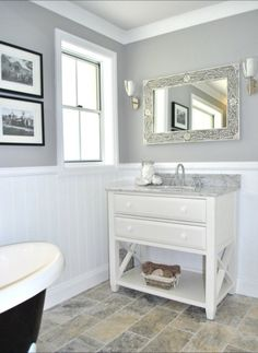 Eye-Opening Useful Ideas: Wainscoting Bathroom Farmhouse wainscoting interior bedrooms.Wainscoting Corners Small Spaces traditional wainscoting how to build. Slate Flooring, Bathroom Flooring, Slate Tiles, Travertine Bathroom, Gray Tiles, Bathroom Taps, Subway Tiles, Bathroom Furniture, Wooden Furniture