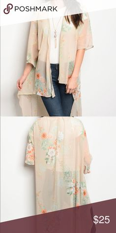 Long spring cardigan Long chiffon cardigan: Get ready for spring with this lovely spring cardigan, available in 2 colors. It's very light weight material and long, has a mid length in front and long on back. If have any questions please let me know, I'd be happy to help. Other
