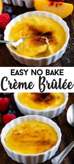 This easy Creme Brûlée recipe is made without eggs or cooking and is no bake. This easy Creme Brûlée recipe is made without eggs or cooking and is no bake. Use pudding mix to make an EASY Cr White Chocolate Creme Brulee, Creme Brulee Cake, Creme Brulee Dishes, Creme Brulee Cheesecake, Easy Creme Brulee Recipe, Flan Recipe, Recipe 4, Dessert Simple, Best Dessert Recipes