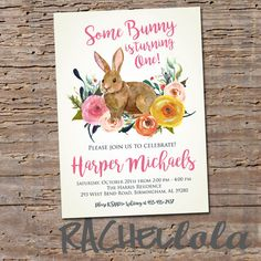 Some bunny is turning one, smaller floral bunny, invitation, printable, digital print, birthday